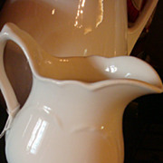 "SALE Heart Embossed Carr China White Ironstone Pitcher 6 1/2"" West Virginia"