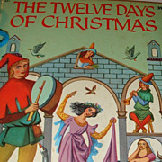 SALE 1956 Wonder Books The Twelve Days of Christmas Washable Cover