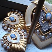 SALE Elizabeth Taylor Avon Heart of Hollywood Brooch & Earrings Faux Opals, Pearls, Rhines