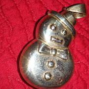 SALE Sterling Silver Puffy Snowman Pendant Seasonal Winter / Christmas 925