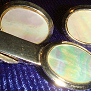 SALE Vintage Mother of Pearl Cufflinks & Tie Clasp, Bar, Clip Set