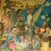 SALE 1922 Gel Christmas Postcard Nativity Mary, Joseph, Jesus, Wise Men, Star in East, Bethleh