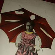 SOLD Black Americana Early Postcard Child Under Tattered Torn Umbrella