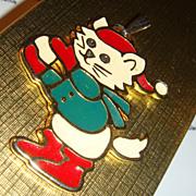 SALE Wallace Silversmiths Enameled Christmas Cat Pendant KY Estate