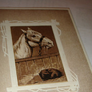 SOLD Christmas, Winter or Any Season Postcard 1909 Horse & Cat Signed R. Riche - Red Tag Sale