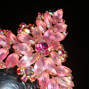 SALE Large Brooch or Victorian Colors Christmas Tree Pin  Pink Satin Marquise Aurora Borealis