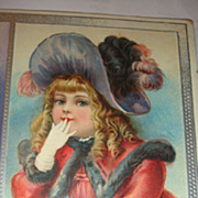 SOLD 1907 Embossed Christmas Postcard Beautiful Young Victorian Girl Hat, Fur, Gloves, Interes