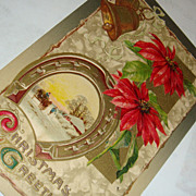 SALE John Winsch 1910 Christmas Postcard Gold Gilded Horseshoe, Bells, Poinsettias, Snow Cover