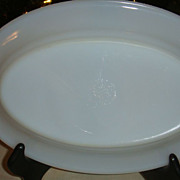 "SALE Fire King White Restaurant Ware Small Platter 6 1/4"" x 9 1/2"" Excellent"