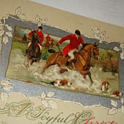 SALE 1912 John Winsch Christmas Postcard Hunt Scene Jockeys, Horses, Dogs Silver Gilt