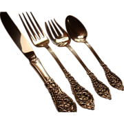 SALE Reed & Barton Sterling Silver Pierced Florentine Lace 4 Piece Dinner Place Setting 19