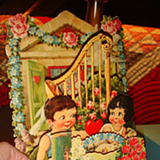 SALE Early Die Cut 3 Dimensional Mechanical Valentine Roses, Hearts, Children, Harp