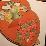 SALE 1916 Die Cut Stand Up Double Heart Valentine Birds, Roses, Appears Homemade