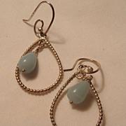 SALE Sterling Silver Teardrop Dangling Pierced Earrings Blue Cabochon Drop Stone