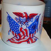 SALE Americana Mug Vivid Colors Spirit of 76, Flags, Eagle, Liberty Bell, Revolution Bicentenn
