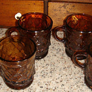 SALE Excellent Fire King Anchor Hocking Amber Kimberly Mug(s) Dot & Diamond
