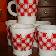 SALE Colorful Checkerboard Hazel Atlas Mug (s) Rolled Base 5 Available Purina