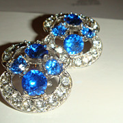 SALE Double Marked BOGOFF Clip Earrings Sapphire Blue & Clear Rhinestones KY Estate