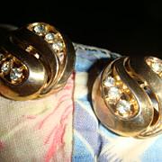 SALE CROWN TRIFARI Pat. Pending Paisley Earrings With Rhinestones