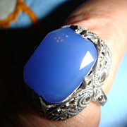 SALE Art Deco Sterling Blue Chalcedony Marcasites Ring Marked Germany