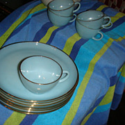"SALE Set of 6 Fire King 9"" Turquoise Plates With Indent + Cups Snacks 22K Gold"