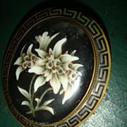 SALE Large Victorian Mourning Pin Brooch Bezel Set Painted Black Stone Greek Key