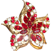 SALE CORO Star Flower Brooch Ruby Red Marquise & Clear Rhinestones