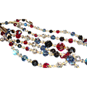 SALE Triple Strand Laguna Sparkling Faceted Crystals Necklace 4 Colors Aurora Borealis