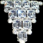 SALE Early Emerald Cut Sparkling Rhinestone Dress or Fur Clip