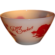 SALE Davy Crockett Fire King Bowl With Slanted Sides Great Red Graphics