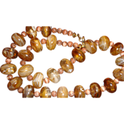 SALE Caramel & Chocolate Swirl Mushroom Shaped Lucite Bead Necklace