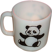 SOLD Black and White D Handle Collectible Panda Mug by Glasbake