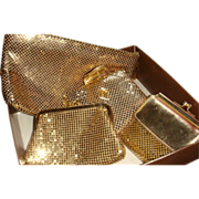 SALE 4 Pieces Whiting Davis Slinky Gold Mesh Handbags Clutch, Wallets, Coin KY Estate
