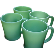 SOLD Set of Four Fire King D Handle Jadite Jadeite Mugs 2 Thick & Heavy