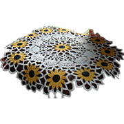 SALE 13 Black-Eyed Susan Flowers on Hand Crocheted Table Covering Lamp Doily