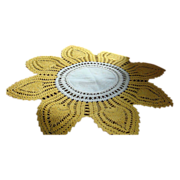 """SALE Golden Yellow and Creamy White 15 1/2"""" 8 Petal Crocheted Lamp Doily Table Linen"""
