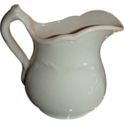 SALE K T & K White Ironstone China Small Heart Embossed Pitcher Near Mint