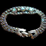 SALE Vintage Weiss Bracelet Prong Set Aurora Borealis 3 Large Center Stones