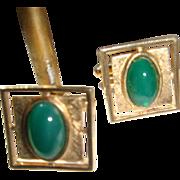 SALE Anson Vintage Cufflinks Deep Jade Green Chrysophase Cabochon