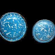 SALE Miniature Doll Size Enamel Blue Swirl Graniteware Bowl Sauce Pan Near Mint Dollhouse