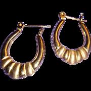 SALE 14K Yellow Gold Door Knocker Hoop Earrings Lever Back Shiny and Satin Finish