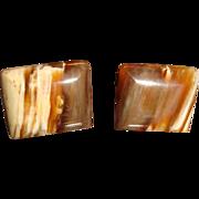SALE Vintage Fudge Marbled Glass or Agate Cufflinks Patent Number