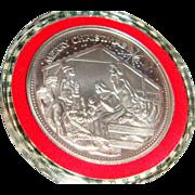 SALE 1991 Troy Ounce Fine Silver Christmas Nativity Medallion Pendant