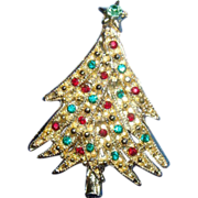 SALE Dimensional Christmas Tree Pin Brooch With Rhinestone Ornaments Overlapping Branches