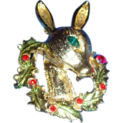 SALE Tancer II Rudolph Pin Brooch With Wreath and Rhinestones Designer Piece
