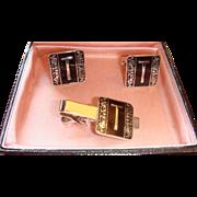SALE Boxed Set Swank Vintage Cufflinks & Tie Bar Clip  Initial T Art Deco Colors