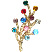 SALE Van Dell Gold Filled Rhinestone Modern Christmas Tree Pin Brooch or Tree of Life