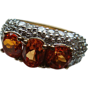 SALE Cocktail Ring Loads of Bling 925 Orange and Clear Stones Size 8 1/4