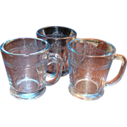 SALE 3 Fire King Glass Blue Sapphire Philbe Mugs Old Mark