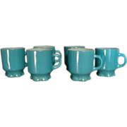 SALE Set of Six Fire King Anchor Hocking Turquoise Concord Ruffled Pedestal Mugs